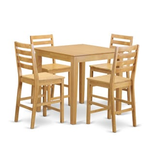 Natural/Beige-finished Solid Wood 5-piece Counter-height Table and Chair Set