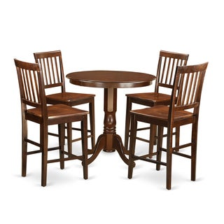 JAVN5-MAH Mahogany Rubberwood Five-piece Pub Table Set Including Table and Four Chairs