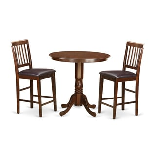 Brown Solid Wood 3-piece Counter-height Dining Set