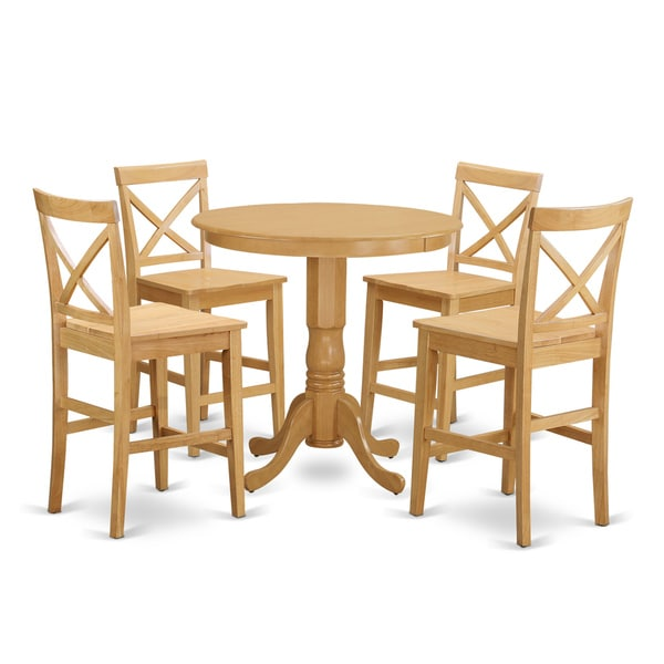 Natural Beige Solid Wood 5 Piece Counter Height Dining Set