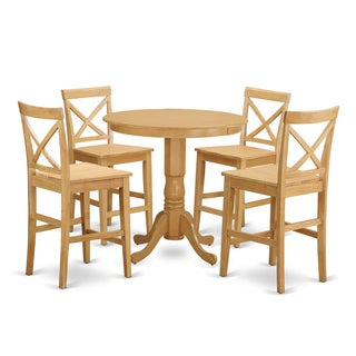 Natural/Beige Solid Wood 5-piece Counter-height Dining Set