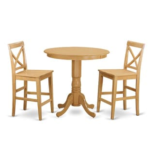 Natural/Beige-finished Solid Wood 3-piece Counter Height Pub Set
