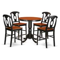 Mahogany and Oak Rubberwood Five-piece Counter-height Dining Room Set