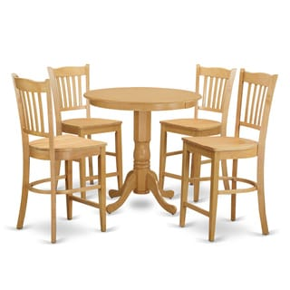 Natural Rubberwood 5-piece Counter Height Pub Set