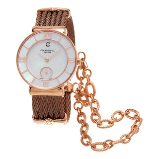 Charriol Women's ST30PI.563.010 'St Tropez' Mother of Pearl Dial Rose Goldtone Stainless Steel Swiss Quartz Watch