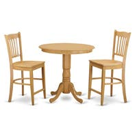 Cream/Natural Solid Wood 3-piece Counter-height Dining Table Set