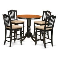 Black Solid Wood 5-piece Counter-height Dining Set