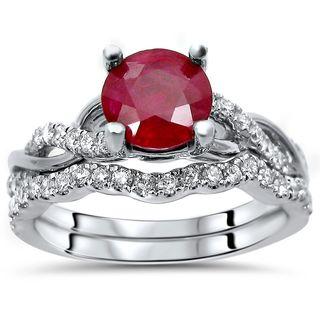 Noori 14k White Gold 1.4-carat TGW Ruby Diamond Engagement Ring Bridal Set (SI1/SI2, F/G)