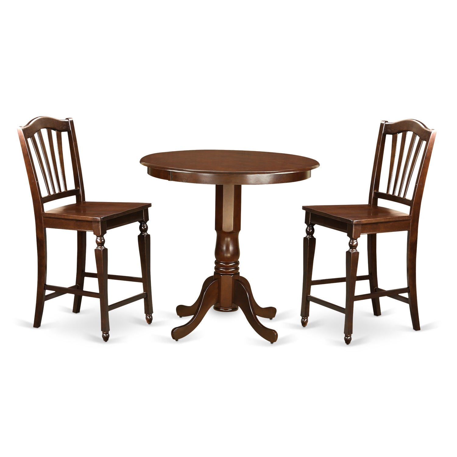 Mahogany Rubberwood 3-piece Counter-height Dining Set (Wo...