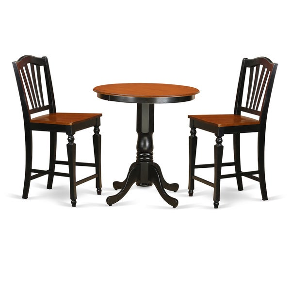 Shop Black Wood 3-piece Counter-height Table And Chair Set