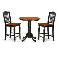 Black Wood 3-piece Counter-height Table and Chair Set