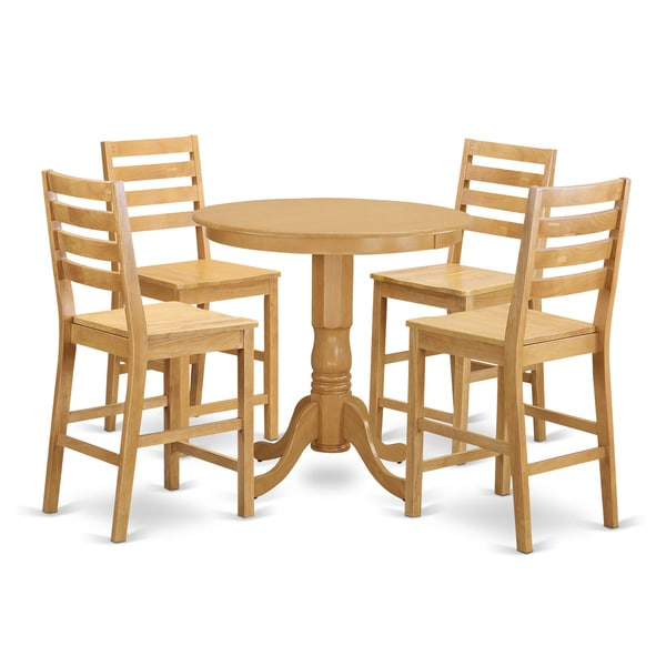 Oak Rubberwood 5 Piece Counter Height Dining Table Set