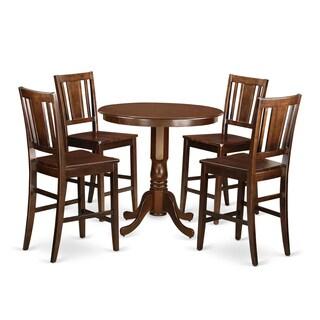 JABU5-MAH Mahogany Rubberwood 5-piece Counter-height Table and 4-chair Dining Set