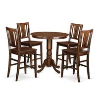 JABU5-MAH Mahogany Rubberwood 5-piece Counter-height Table and 4-chair Dining Set