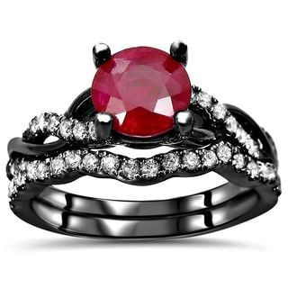 Noori Collection 14k Black Gold 1 2/5k TGW SI1/SI2 F/G Ruby Diamond Engagement Ring Bridal Set