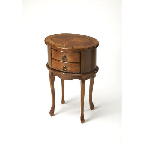 Handmade Butler Whitley Olive Ash Burl Oval End Table (China)