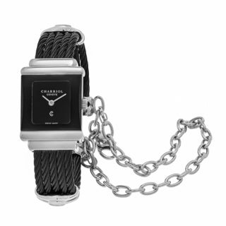 Charriol Women's SSTRBN1545RE015 'St Tropez' Black Dial Black Stainless Steel Swiss Quartz Watch