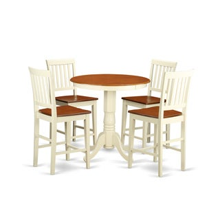 Cream and Off-white Solid Wood Five-piece Pub Table Kitchen Dinette Set