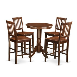 Brown-finished Solid Wood 5-piece Counter Height Pub Set