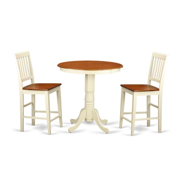 shop edvn3 whi cream off white rubberwood 3 piece pub table set including table and 2 chairs. Black Bedroom Furniture Sets. Home Design Ideas