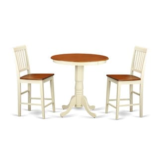 EDVN3-WHI Cream/Off-white Rubberwood 3-piece Pub Table Set Including Table and 2 chairs