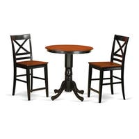 Solid Wood 3-piece Counter-height Table and Chair Set