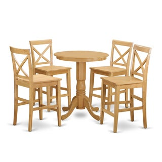 EDPB5-OAK Oak-finished Rubberwood 5-piece Counter-height Pub Set With Table and 4 Chairs