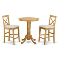Natural-finished Rubberwood 3-piece Counter Height Dining Table Set