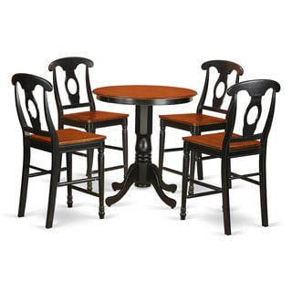 Traditional Black and Cream Rubberwood Five-piece Counter-height Dining Set