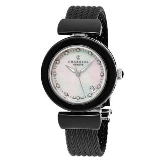 Charriol Women's AE33CB.565.003 'Ael' Mother of Pearl Diamond Dial Black Stainless Steel Cable Swiss Quartz Watch