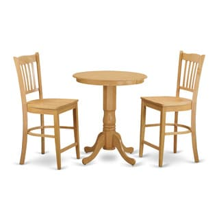 Solid Rubberwood 3-piece Counter Height Dining Set