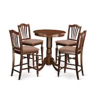 Mahogany Rubberwood Five-piece Counter-height Dining Set