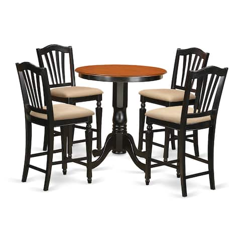 Black Finish Solid Wood Five-piece Kitchen Counter-height Table Set