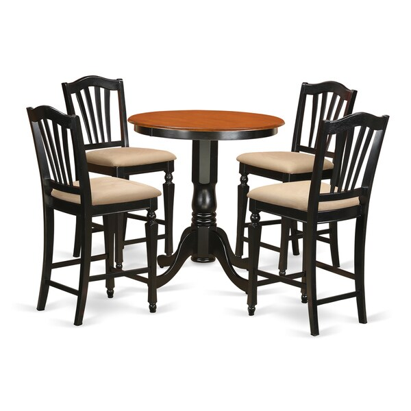 Solid Wood Kitchen Table Sets: Shop Black Finish Solid Wood Five-piece Kitchen Counter