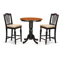 Black Solid Wood 3-piece Counter-height Pub Set