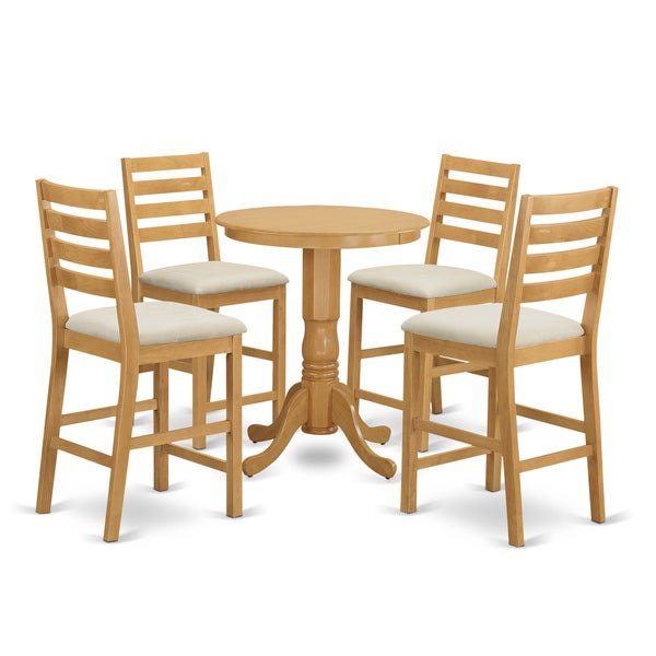 Natural Finished Solid Wood 5 Piece Counter Height Dining Set