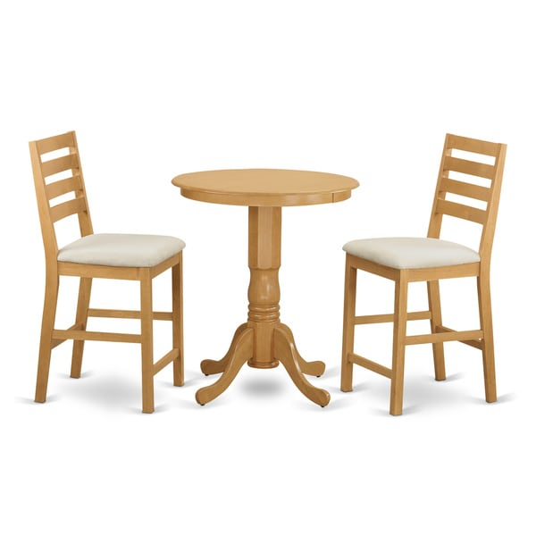 Natural Oak FInish Rubberwood 3-piece Counter-height Dining Set