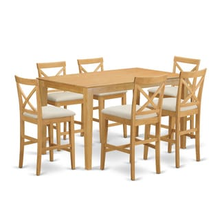 Natural Rubberwood 7-piece Counter-height Dining Table Set