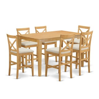 Natural Rubberwood 7-piece Counter-height Dining Table Set (2 options available)