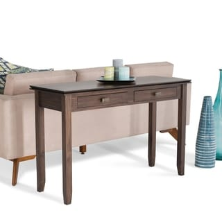 WYNDENHALL Stratford Solid Wood 46 inch Wide Contemporary Console Sofa Table in Natural Aged Brown - 46 W x 17 D x 30 H