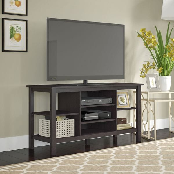 Bush Furniture Broadview Espresso Oak Tv Stand For Tvs Up To 55 Inches Free Shipping Today