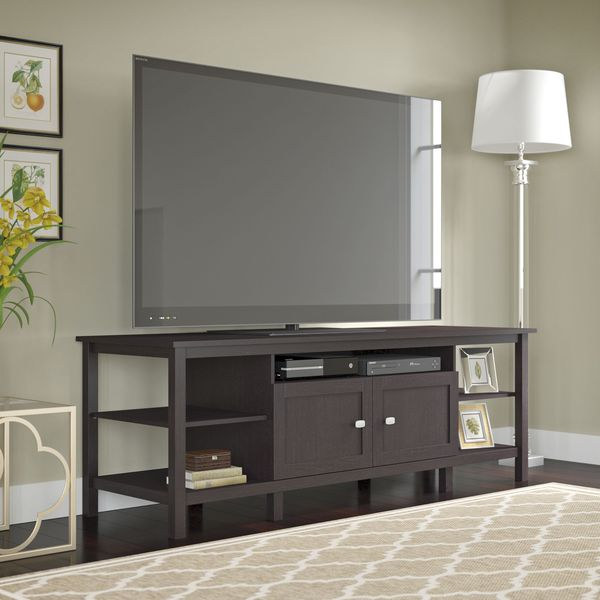 bush furniture broadview espresso oak 75 inch tv stand free shipping today. Black Bedroom Furniture Sets. Home Design Ideas