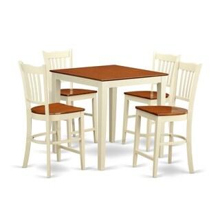 Cream Rubberwood 5-piece Counter Height Pub Dining Set