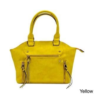 Moda Trendy Faux Leather Double Handle Satchel Handbag
