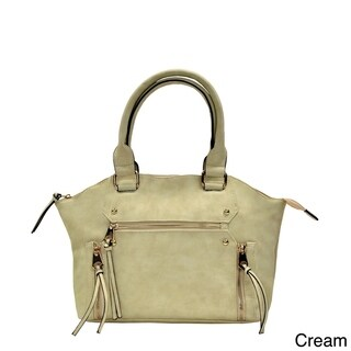 Moda Trendy Faux Leather Double Handle Satchel Handbag