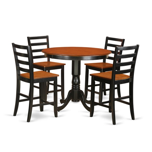 Shop Black/Cherry Solid Rubberwood 5-piece Pub Table