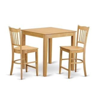 Traditional Black-finished Solid Rubberwood 3-piece Counter Height Dining Set with Table and 2 Chairs