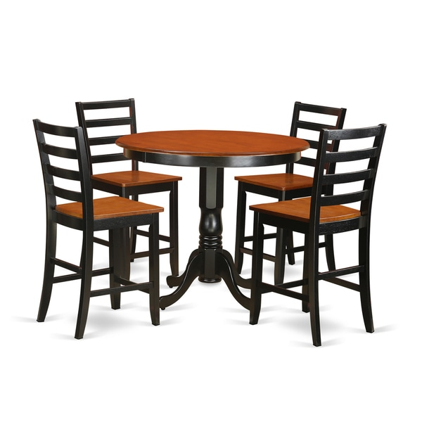rubberwood 3 piece counter height dining set with table and 2 chairs