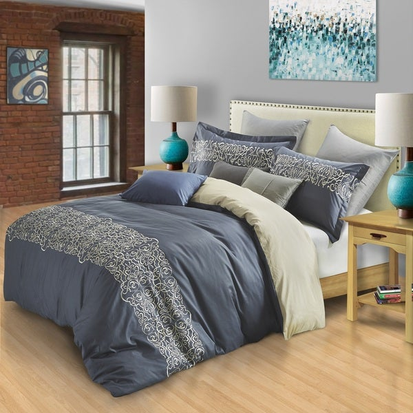 Superior Harrison 300 Thread Count Embroidered Cotton Duvet Cover Set