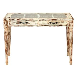 Vintage Wood and Glass 40-inch Wide x 29-inch High Console Table